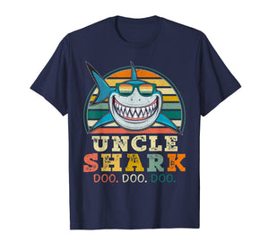 Retro Vintage Uncle Shark TShirt Funny Birthday Gifts Family