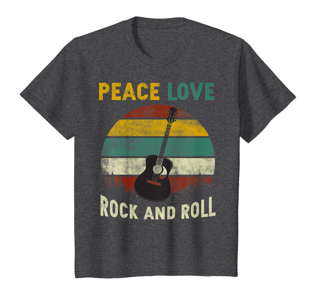 Peace Love Rock And Roll Guitar Retro Vintage T-Shirt