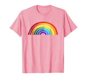 Rainbow T-Shirt Simple Style Basic Glossy Stripe Design