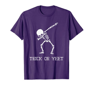 Trick or YEET Dabbing Skeleton Funny Halloween Kids + Adult T-Shirt