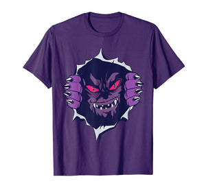 Scary Purple Monster Coming Out Of Chest Funny Halloween T-Shirt