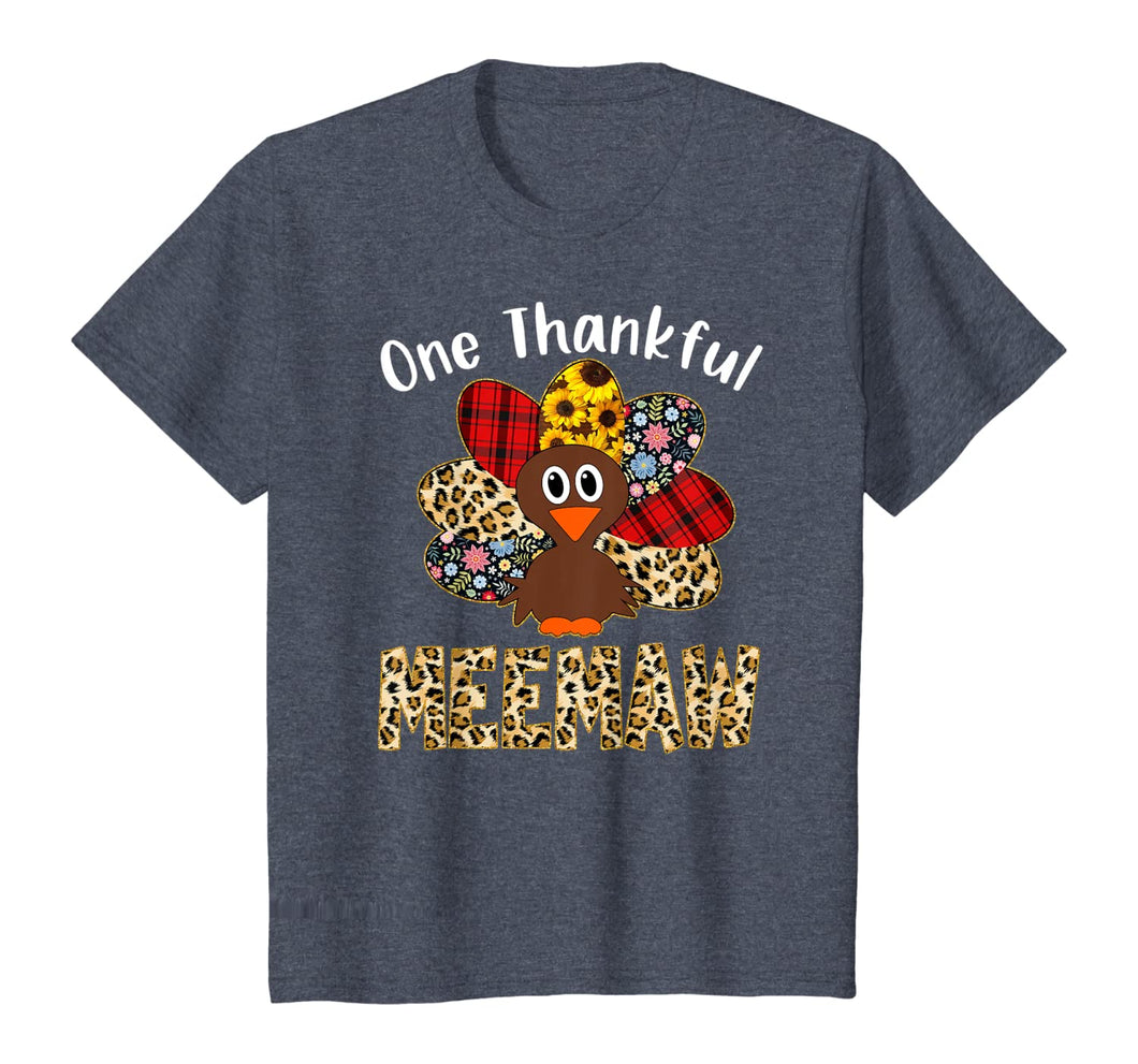 One Thankful Meemaw Leopard Turkey Thanksgiving Meemaw Gift T-Shirt