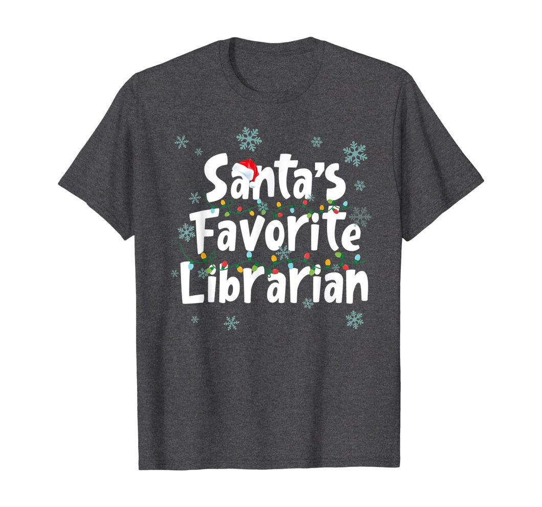 Santa's Favorite Librarian Funny Christmas Ornaments T-Shirt