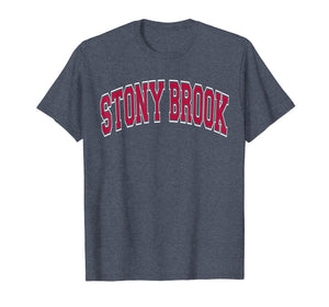 Stony Brook NY T Shirt - Varsity Style Dark Red Text