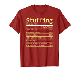 Stuffing Nutrition Facts Thanksgiving Costume Christmas T-Shirt