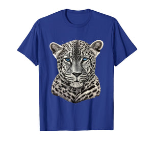 T Shirts for Men Women Kids Graphic Leopard with Blue Eyes