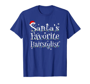 Santa's Favorite Hairstylist Xmas Lights Costume For Barber T-Shirt