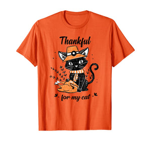 Thankful For My Cat Gift For Thanksgiving T-Shirt