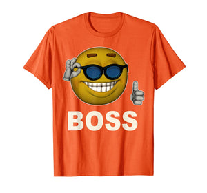 Smile Boss Face Emoji Sunglasses Emoticon Halloween Costume T-Shirt
