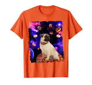 Funny shirts V-neck Tank top Hoodie sweatshirt usa uk au ca gifts for Adorable Pug in Outer Space with Doughnuts Men Girl T-Shirt 2755445