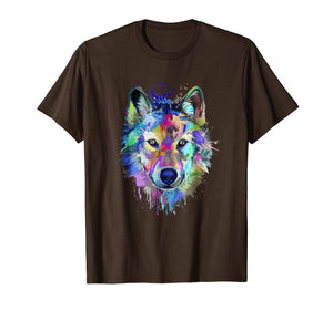 Splash Art Wolf T-Shirt | Gifts for Wolf lovers