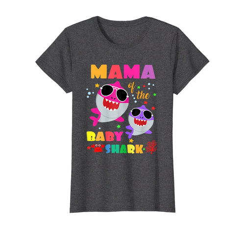 Mama Of The Baby Shark Birthday Mama Shark Gift T-Shirt B08DN26LJ9 571535
