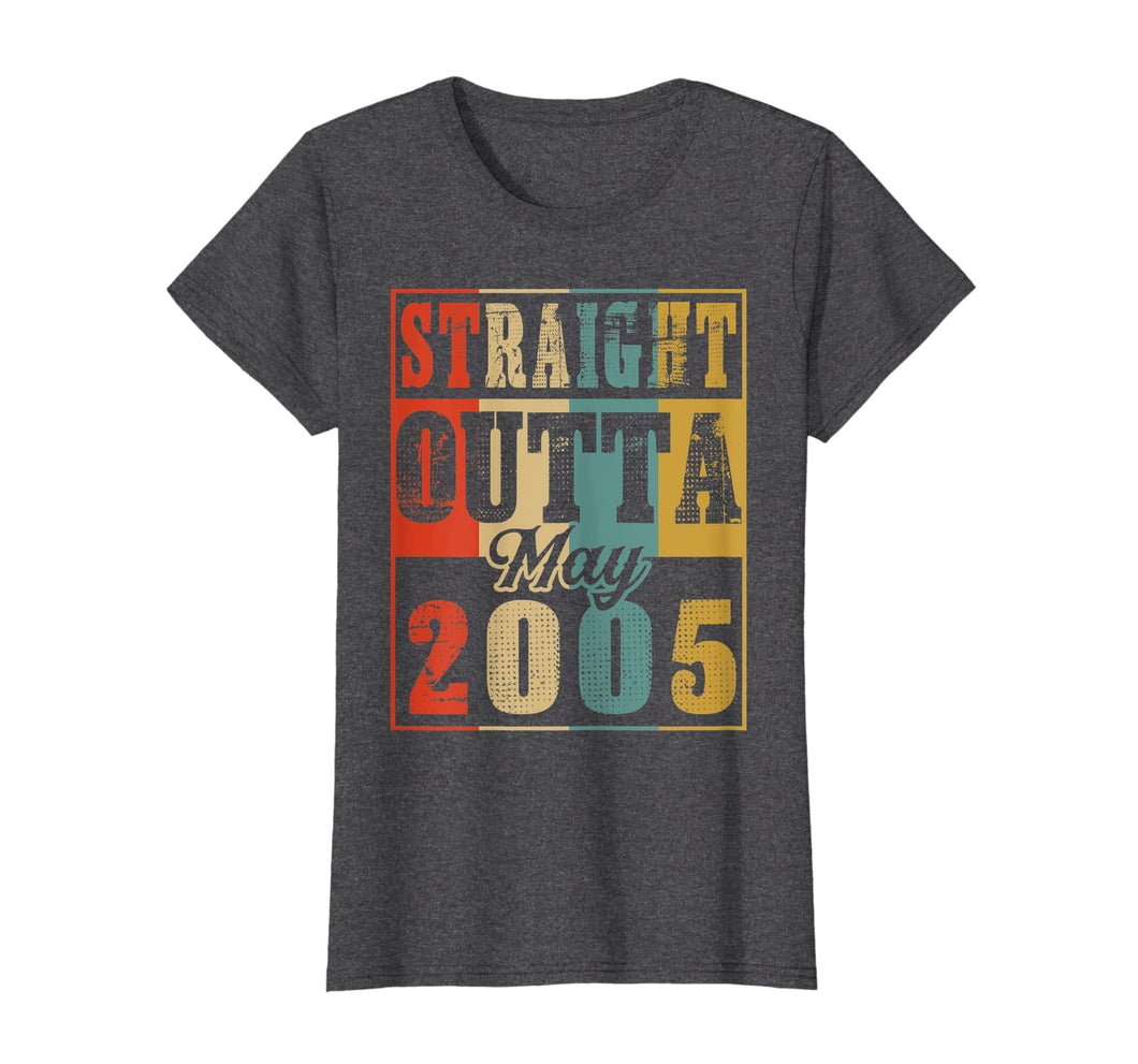 Funny shirts V-neck Tank top Hoodie sweatshirt usa uk au ca gifts for Retro Straight Outta May 2005 14th Birthday Gift T Shirt 1996402
