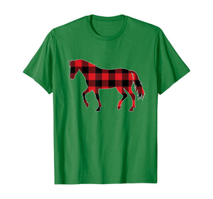 Red Plaid Horse Christmas Pajamas Tee Pig Christmas Gift T-Shirt