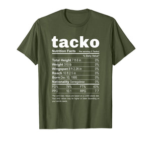 Tacko Nutrition Facts Label Funny Boston Basketball T-Shirt