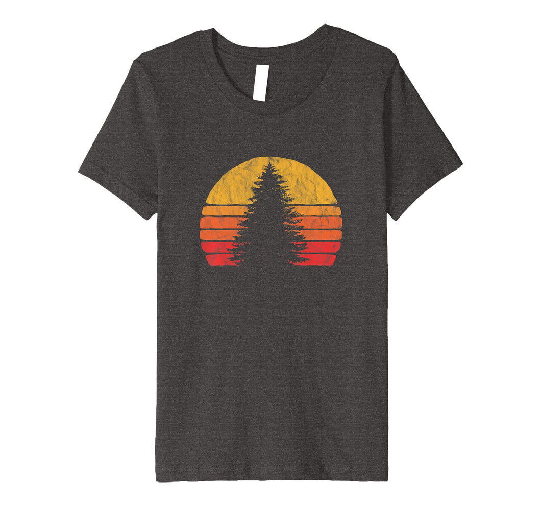 Retro Sun Minimalist Pine Tree Design - Graphic T-Shirt