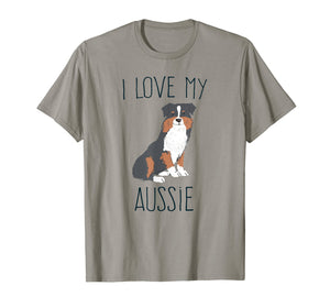 Funny shirts V-neck Tank top Hoodie sweatshirt usa uk au ca gifts for I Love My Aussie T-Shirt Cute Australian Shepherd Dog Tee 2280829