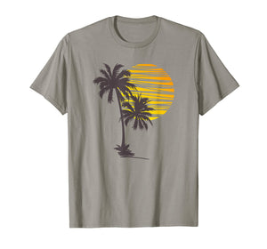 Sunset Beach Palm Tree TShirt Funny Summer Vacation Holiday T-Shirt