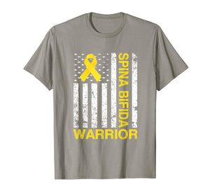 Spina Bifida Warrior Awareness Gift USA Flag Yellow Ribbon  T-Shirt