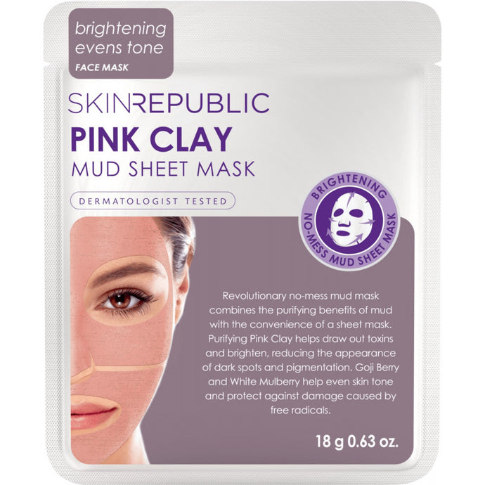 SKIN REPUBLIC Pink Clay Mud Sheet Face Mask 18 g