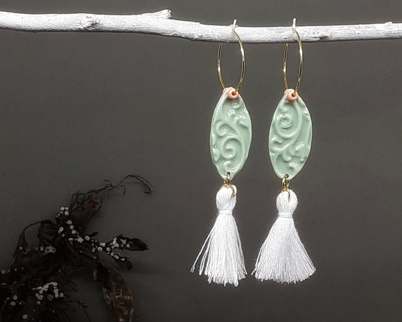 Embossed Green Tassel Hoops