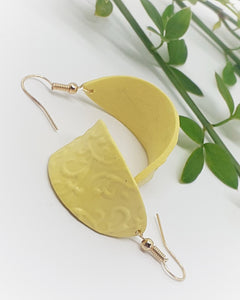 Curved Yellow Leaf Earrings