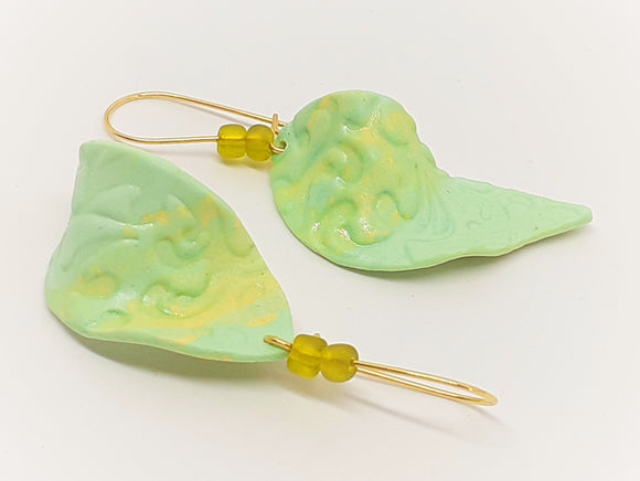 Large Lime Leaf Earrings