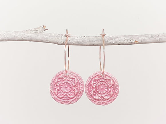 Pink Coin Hoop Earrings