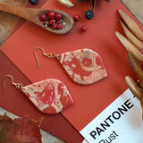 Large fabric effect clay earrings