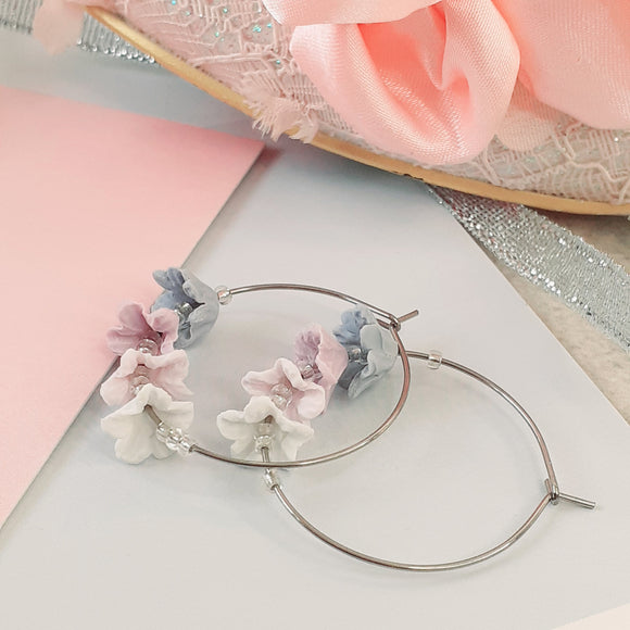 Pastel Windflower hoops