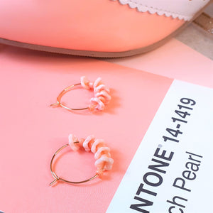 Blush flower hoops