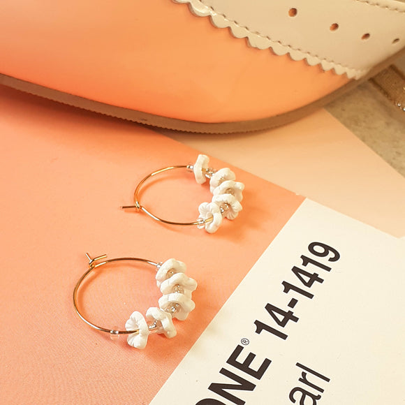 White flower hoops