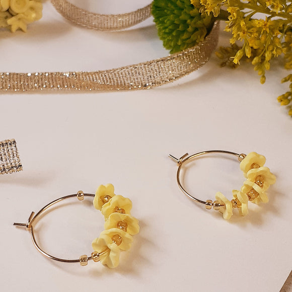 Yellow flower hoops