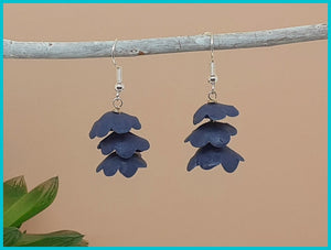 Classic Blue Flower Drop Earrings