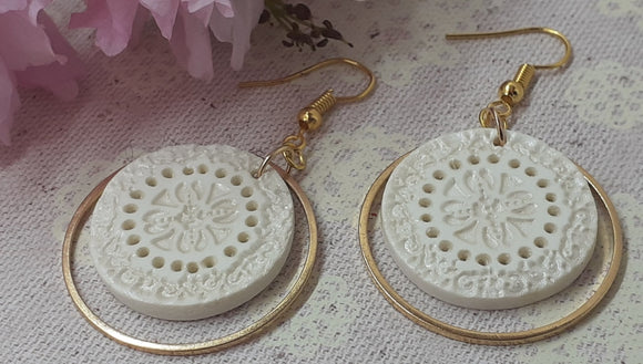 Embossed Disc Hoop Earrings