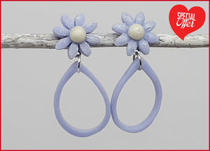 French Blue Daisy Hoops