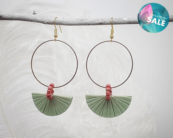 Green Art Deco Hoops