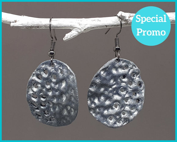 Hand Shaped Dimpled Disc Earrings