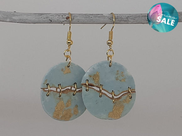 Light Blue Kintsugi Statement Earrings