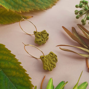 Olive Green Ginko Hoops