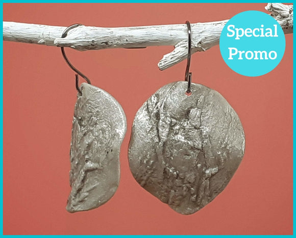 Silver Clay Statement Earrings