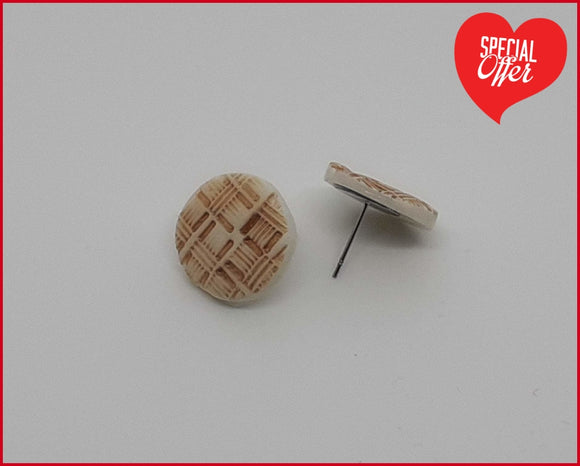 Textured Penny Round Studs