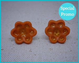 Warm Orange Flower Studs