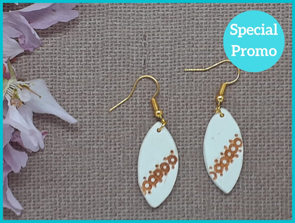 Warm White Leaf Earrings