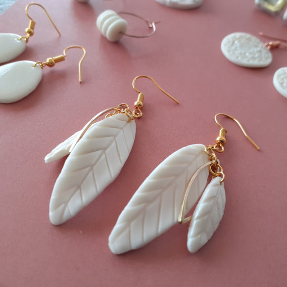White Boho Feather Earrings