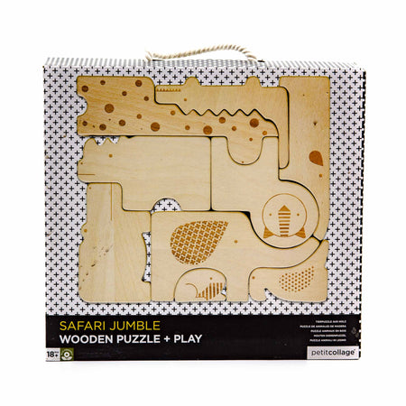 Petit Collage Wooden Safari Puzzle - Mortise And Tenon
