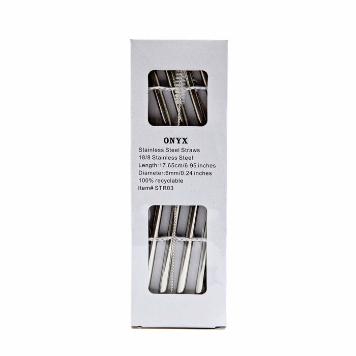 ONYX Stainless Steel Straw - 4 Pack with Straw Brush - Mortise And Tenon