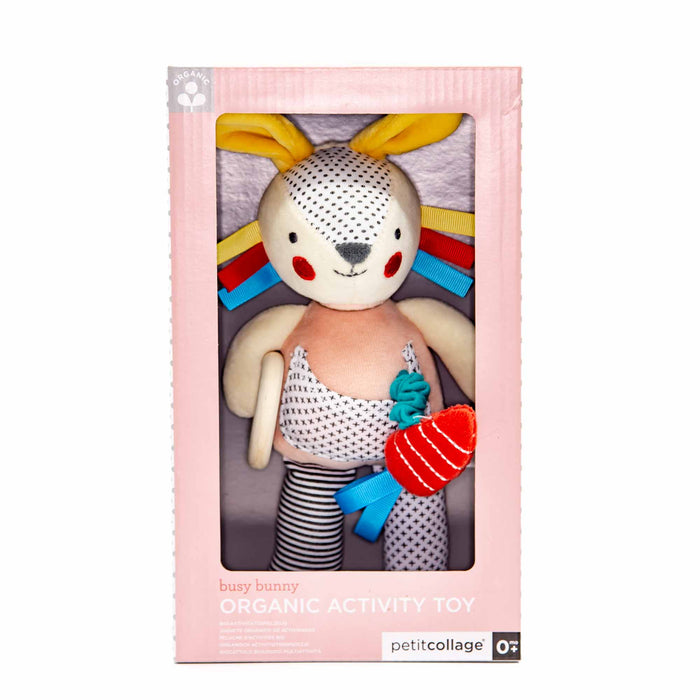 Petit Collage Busy Bunny Organic Activity Toy - Mortise And Tenon