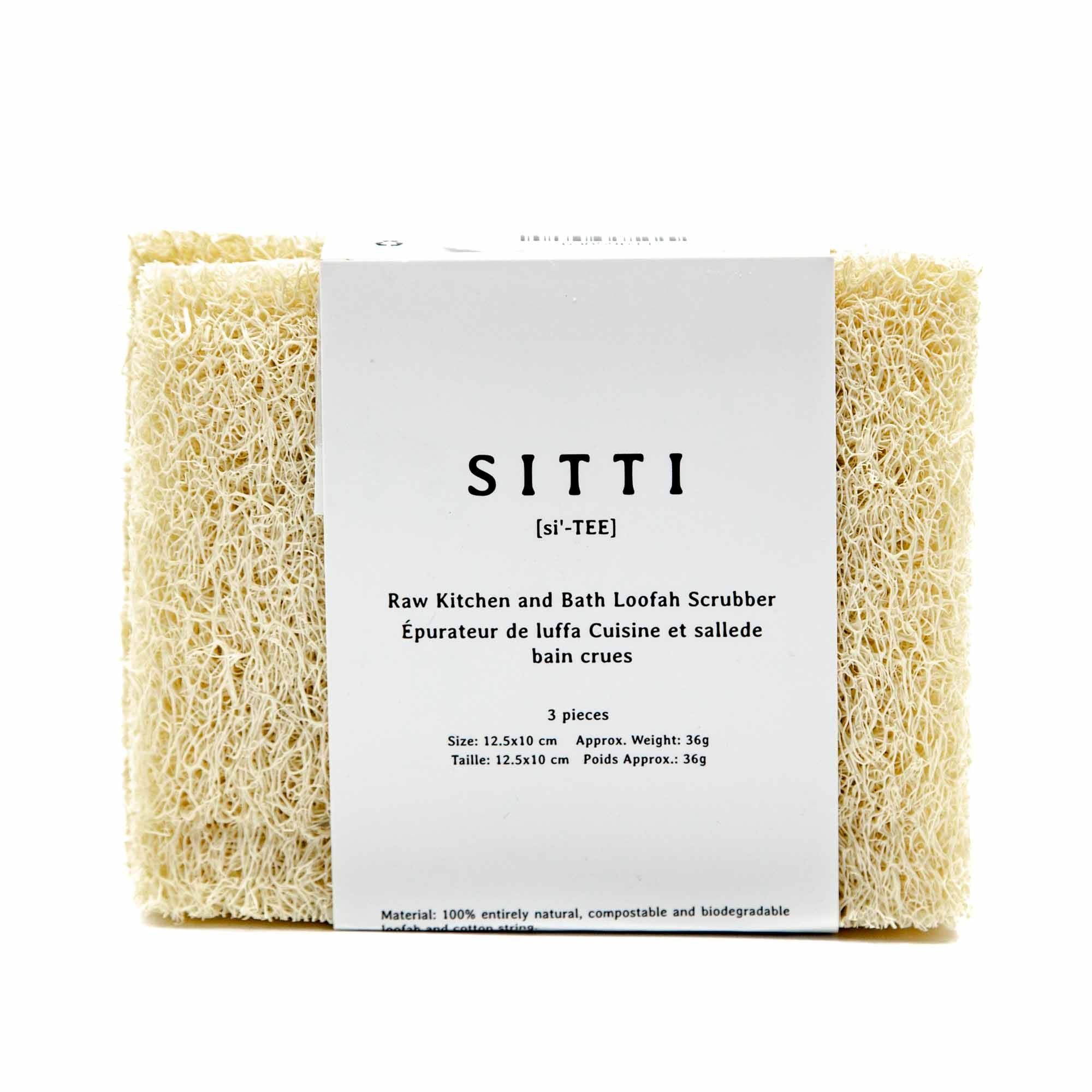 Sitti Raw Kitchen and Bath Natural Loofah Scrubber - Set of 3 - Mortise And Tenon