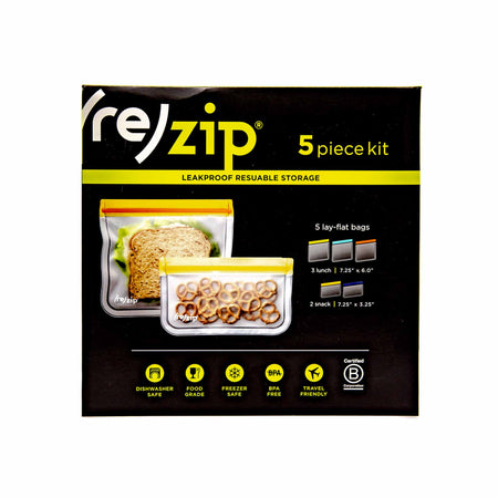 (re)Zip Lay Flat Lunch & Snack Bags 5-pack - Mortise And Tenon